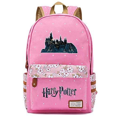 NYLY Mochila Floral Harry Potter Mochila Hogwarts,Teen Boys Girls Fashion School Bag Bolso para portátil M (Rosa) Estilo-9