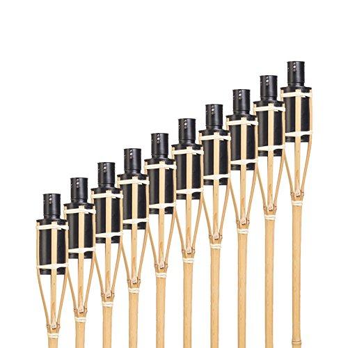 Hussala Bambus Gartenfackel Turin Öl Bambusfackeln, Nachfüllbar, Länge 60 cm Garten-Fackeln - 10 Stück
