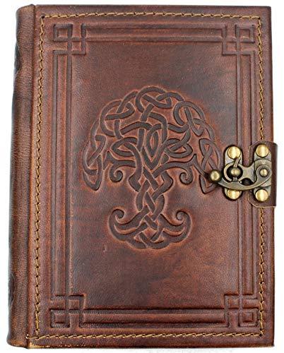 Edles Tagebuch aus echtem Leder | Keltischer Knotenbaum | Handarbeit | Braun | 18,5 x 14,5 x 3,2 cm...