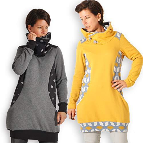 leni pepunkt Schnittmuster Pullover Damen mit Nähanleitung in den Größen XS - XXXL zum selbst Nähen mit Kurzanleitung und 5 Webetiketten