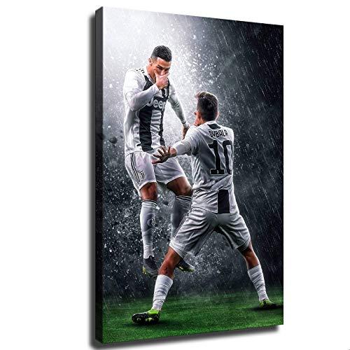 Hinyast Póster de la Juventus Ronaldo y Paulo Dybala Celebrate a Goal Poster Sports Football Poster Decoración de pared para sala de estar (30,48 x 45,72 cm, sin marco)