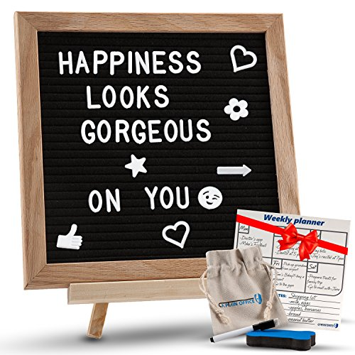 """Changeable Black Felt Letter Board with Stand, Letters, Canvas Storage Bag, Wall Mount & Bonus Dry Erase Board. Premium 10x10"""" Oak Wood Frame Message Sign Board with Emojis. Perfect for Home & Office"""