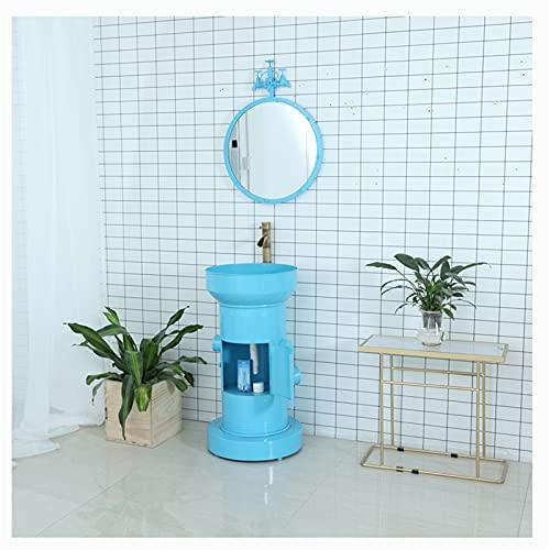 WKZ Muebles De Bano con Lavabo Y Espejo Metal Retro Estilo Industrial Lavabo con Mueble con Grifo De Espejo Lavabo De Pie Bano 85 * 45 cm para Bar, Restaurante, KTV(Color:Azul + Espejo)