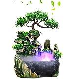 Fuente de Agua de Mesa, Humidificador de Cascada de Escritorio, Cascada de Resina Ambiental Atomizadora con Luces LED de Colores para Casa, Oficina, Habitación Escritorio Decoración(EU Plug-220V)