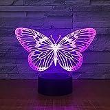 Mariposa LED 3D Luz Noche Escritorio Lámpara de Mesa 7 Cambio de Color Linterna USB RGB Controler Juguete Regalo para niños
