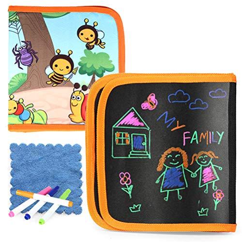 Innovatief bord, graffiti-tekenplank voor kinderen, tekenplank, afwasbaar, herbruikbaar schilderen, zacht bord met 6 pagina's en 4 kleurpotloden om te schrijven en te tekenen.