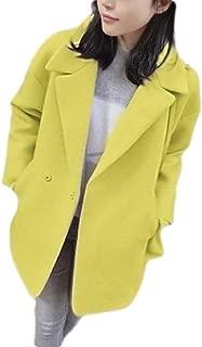 Macondoo Womens Woolen Lapel Overcoat Double Breasted Winter Pea Coat Jacket