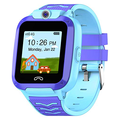 UOTO 4G Kids Smartwatch Phone, WiFi LBS GPS Tracker Watch Waterproof for Boys Girls with Pedometer/Remote monitoring/FaceTalk/2-way Call/SOS, Kids Christmas Birthday Gift(Blue-Q51) 1