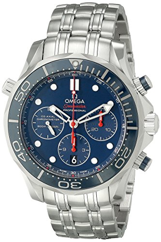 Omega 21230445003001 Diver 300 M Co-Axial Chronograph Sliver Watch