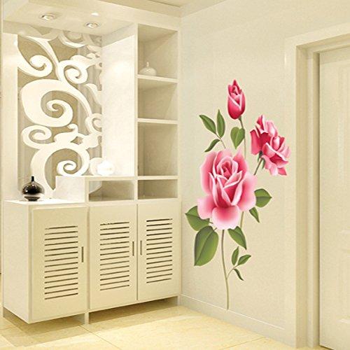SMART LEGEND Abnehmbare Wandsticker Wandtattoo Größe: 70cm*50cm Fashion Home-Dekoration-Aufkleber Blume Wohnzimmer elegant Blüte