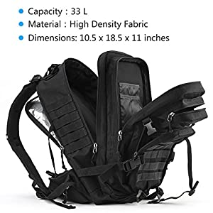 Rupumpack Military Tactical Backpack Army Molle Hydration Bag 3 Day Rucksack Outdoor Hiking School Daypack 33l