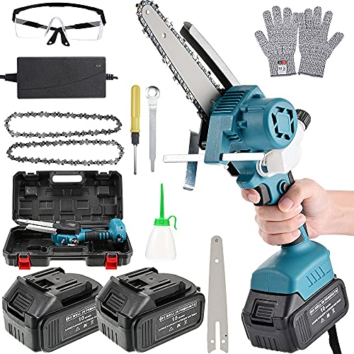 6 Inch Mini Chainsaw Cordless with 2x4000mAh Battery,Upgraded Brushless Motor Electric Chain Saw,One-Handed Portable Small Chainsaw for Branch Pruning Wood Cutting Garden Tree Logging Trimming
