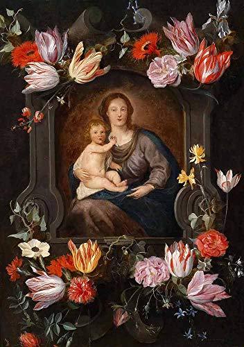 JH Lacrocon Jan Brueghel el Joven - Virgen Niño En Cartucho Flores Reproducción Cuadro sobre Lienzo Enrollado 65X90 cm - Pinturas Religioso Impresións Decoración Muro