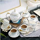 Taza de café Exquisita Taza de café y platillo Set Bone China Flor de la casa Copa de té Caja de Regalo Cerámica Tea Tea Set Taza de café con asa