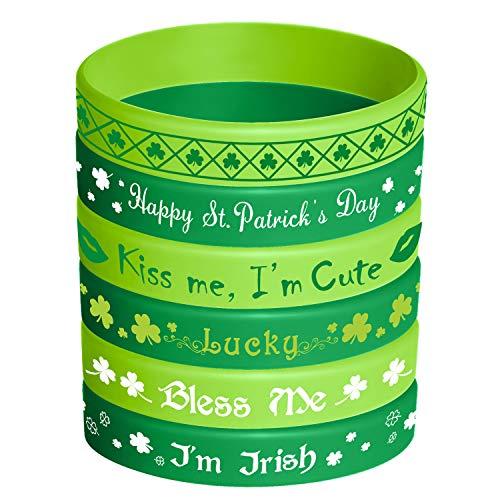 TUPARKA San Patricio Pulseras Goma Pulsera Irlandesa Trébol Silicona Pulsera para Fiesta Favorece a los Niños Suministros de Regalos Escolares, 36 Piezas 6 Estilos