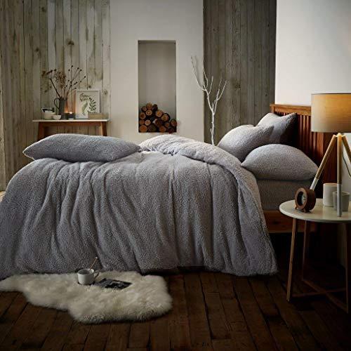 EDS Teddy Fleece Bettbezug Set, Thermisch, warm & kuschelweich, sehr komfortabel und fluffig, mit den dazugehörigen Kissenbezügen (Silber - 135 X 200)