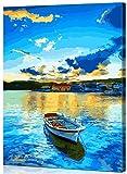 WONZOM Pintura por Números para Adultos, DIY Pintar por Numeros Kits para Niños Principiantes sobre Lienzo Pintura, Lago Azul y Barco 16 * 20 Pulgadas con Marco de Madera