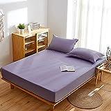 Nuoxuan Premium Sábana Bajera,Ropa de Cama de 3 Piezas de Color sólido de algodón Puro, Dormitorio de apartamento de Hotel único Doble tamaño King-Púrpura 1_180*200cm (3pcs)