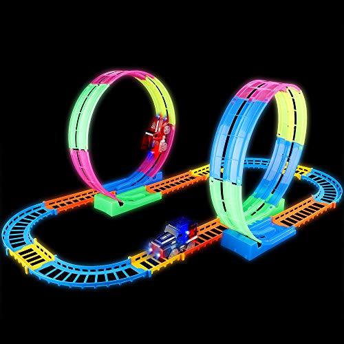 FiGoal 27 Pieces Large Race Track Set with Double 360° Stunt Loops and Two Bonus LED Light Up Electric Cars for Birthday Gift Easter Gift for Kids Boys Girls Toddlers