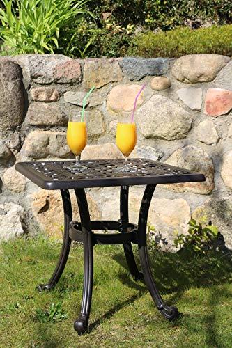 Made for us® Gartentisch, Aluguss, Beistelltisch outdoor, 54 x 54 cm, Höhe 47 cm, Balkontisch klein und eckig, Couchtisch aus wetterfestem Aluguss mit UV beständiger...