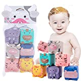 JETM·HH Baby Blocks, Soft Building Blocks Toys for 6 Months Up Toddlers, Silicone Bath Toys, Chewable, Squeeze, 6 PCS Adorable Animals Shapes Set
