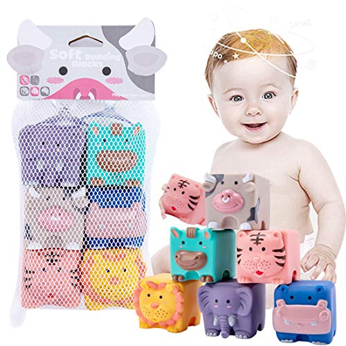 JETM·HH Baby Blocks,Soft Building Blocks Toys for 6 Months Up Toddlers,Sensory Chewing Toys 6PCS Adorable Animals Shapes Set
