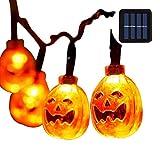 Halloween Lights with 30 led Pumpkin Light,Orange Lights for Halloween 20ft 30LEDs,Halloween Outdoor Lights for Patio, Garden,Parties (IP65 Waterproof,8 Light Modes Warm White)