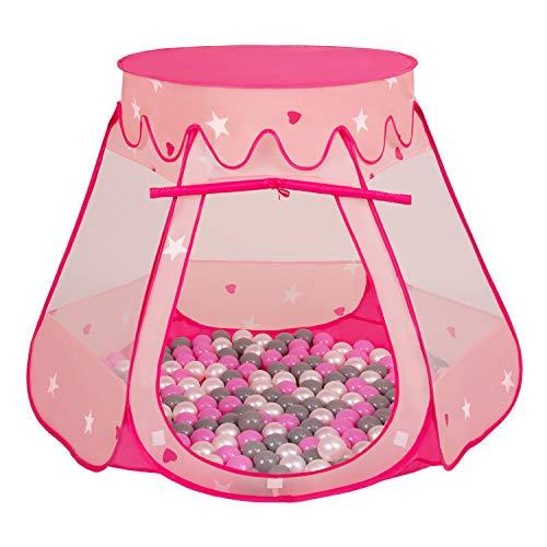 Selonis Baby Spielzelt Mit Plastikbällen Zelt 105X90cm/200 Bälle Plastikkugel Kinder, Pink:Perle-Grau-Rosa