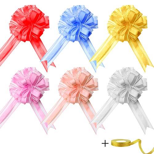 EQLEF Lazos Regalo, Arcos Grandes de Organza para la decoración de la Fiesta de Bodas, Lazo de Papel de Regalo para Navidad, San Valentín, cumpleaños (Paquete de 6 Unidades en 6 Colores)