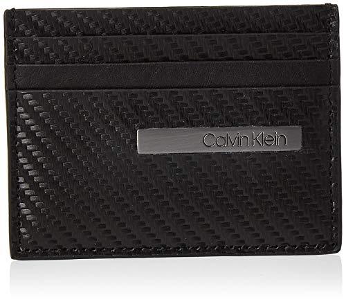 Calvin Klein Carbon Leather Cardholder - Borse a spalla Uomo, Nero (Black), 1x1x1 cm (W x H L)
