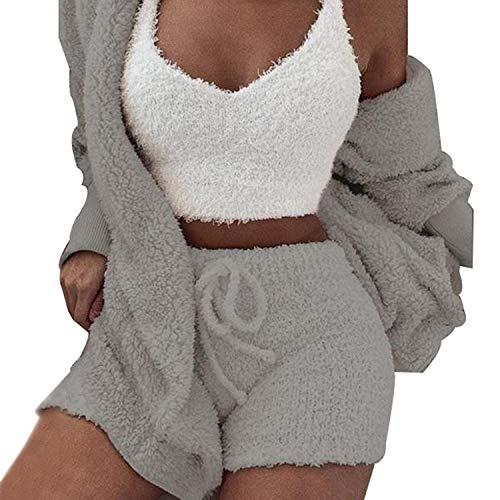 Womens Sexy Fuzzy Warm Sherpa Fleece 3 Piece Outfit Fleece Coat Jacket Outwear and Spaghetti Strap Crop Top Shorts Set (Grey, L)