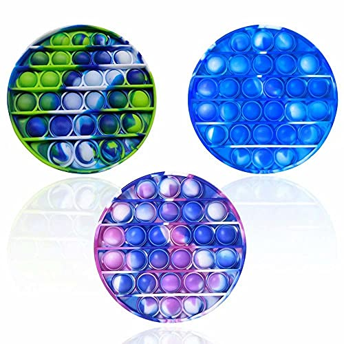 LZJZ Silicone Tie-dye Push Pop Bubble Fidget Toy, Anxiety & Tension Relieve, Squeeze Sensory Tools to Relieve Emotional Stress for Kids Adults, 3PCS (Round)