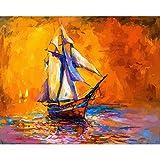 Barco de pesca pintura de bricolaje por números kits de pintura pintura al...