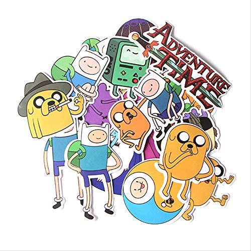 YUHANG Hora de Aventura con Finn y Jake Doodle Pegatina Maleta monopatín Nevera portátil Pegatina 17 Piezas