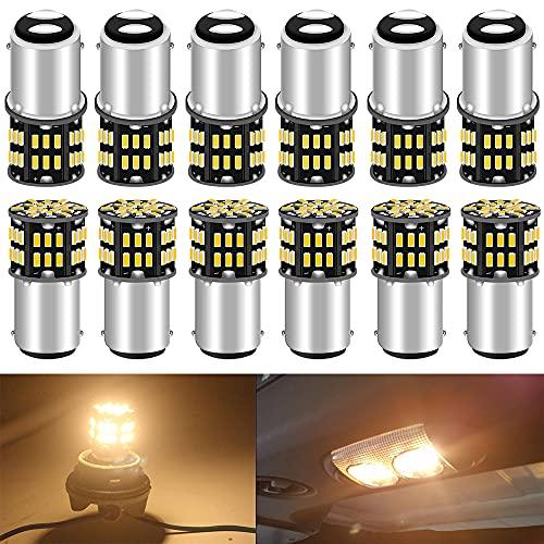 ALOPEE Paquet de 12 BA15D 1142 Doux Blanc Chaud 3000k LED Lumière 12 V-DC, 3014 54 SMD Remplacement De Voiture pour L'intérieur RV éclairage Camper Clignotants Lampes Tail Backup Ampoules