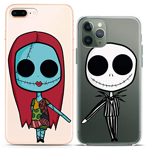 Cavka TPU Matching Couple Cases for Apple iPhone 11 Pro Xs Max X Xr 8 Plus 7 6s SE 5s Clear Nightmare Undead Couple Forever Christmas Girlfriend Her Flexible Relationship Silicone Cover Cute Print