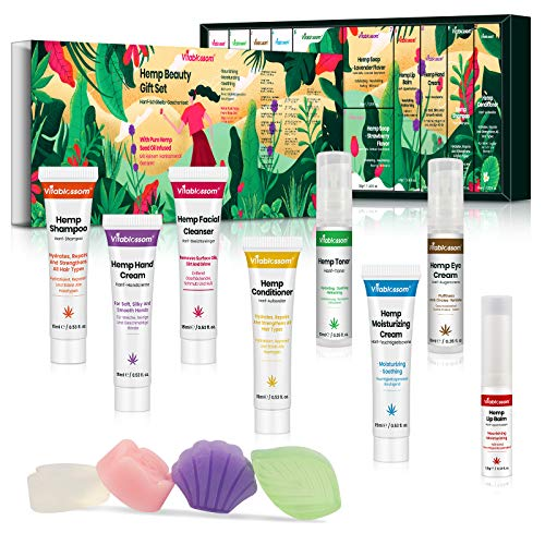 Hanf Beauty Geschenkset mit Augencreme, Gesichtsreiniger, Toner, Feuchtigkeitscreme, Gesichtsseife, Lippenbalsam, Handcreme, Shampoo, Conditioner, Weihnachts kleine geschenke für Frauen