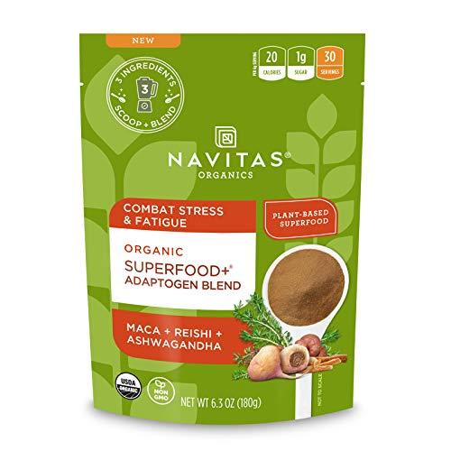 Navitas Organics Superfood+ Adaptogen Blend for Stress Support (Maca + Reishi + Ashwagandha), 6.3oz Bag, 30 Servings — Organic, Non-GMO, Vegan, Gluten-Free, Keto & Paleo.