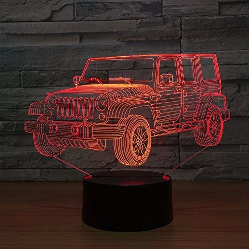 D Acrylic Plate Jeep Car Vehicle USB Party 3D LED Night Light Table Lamp Bedside Decoration Kids Gift