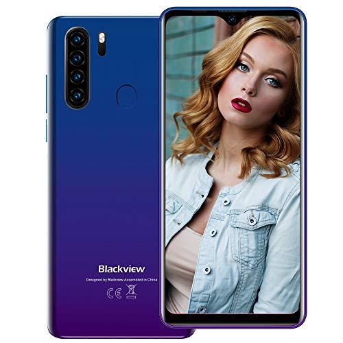 Blackview A80 Plus (2021) 4G Smartphone ohne Vertrag Günstig 6,49 Zoll Android 10 4GB RAM + 64GB ROM, 128GB erweiterbar 4680mAh Akku 13MP+8MP Dual Kamera Dual SIM Handy - NFC Blau