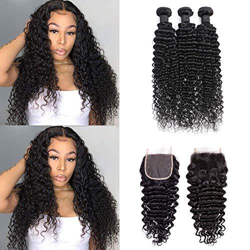 Deep Wave Bundles with Closure 9A Brazilian Deep Curly Human Hair Bundles and 4x4 Free Part 100% Unprocessed Virgin Hair Extensions Natural Black (10/12/14&Closure10)