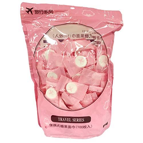 HomeDecTime Toalla de Algodón Desechable de Toalla Comprimida de Viaje - 100 piezas Rosa, tal como se describe