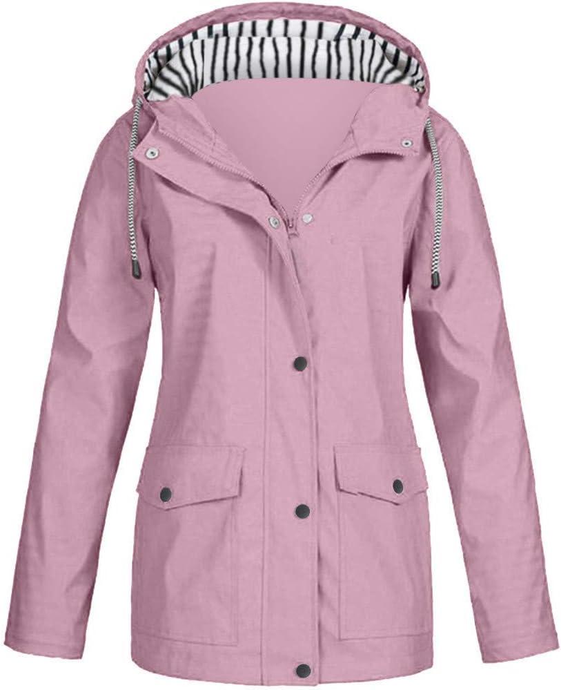 Women Lightweight Rain Jacket with Hood Striped Hooded Plus Size Raincoat Outdoor Waterproof Windbreaker Raincoat (Watermelon Red, 4X-Large)