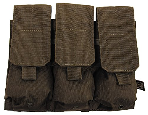 MFH TRIPLE M4 MAGAZINE POUCH MOLLE POUCH GREEN OD AIRSOFT