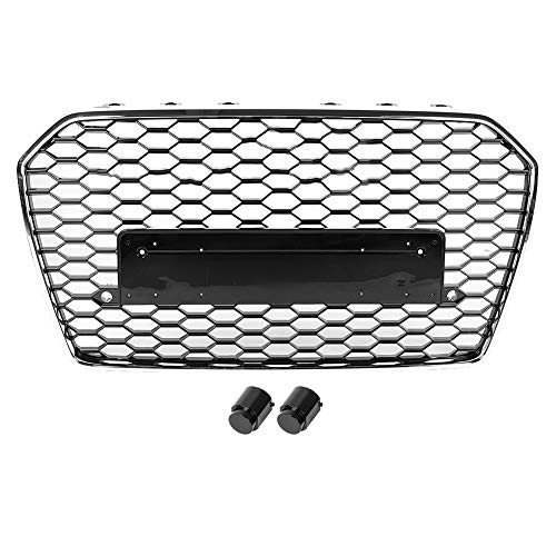 KIMISS Aoto Grill Hex Mesh Wabengrill Haubengrill, Car Frontgrill Hex Mesh Wabengrill für RS6 Style A6 / S6 C7 15-18