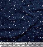 Soimoi Blau Baumwolle Batist Stoff dot & Schneeflocke
