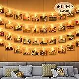 Zorara Clip Cadena de Luces LED, 40LEDs 6m Fotoclips Guirnalda de Luces,...