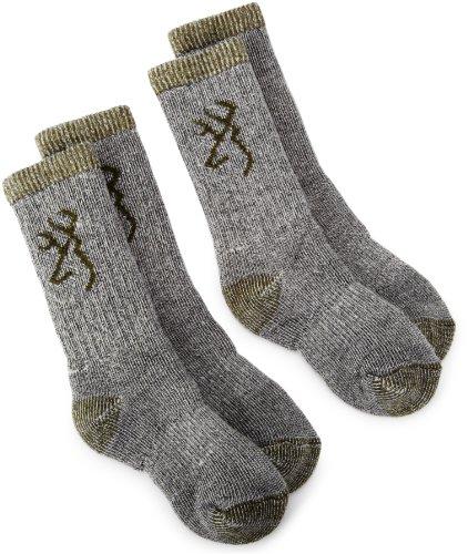 Browning Hosiery Unisex Child Kids Merino Wool Blend Sock, 2 Pair Pack (Olive, Small)