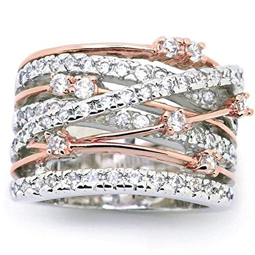 Silver Rose Gold Braided Wrap Knot Style Promise Statement Cocktail Party Ring (Silver Rose Gold, 9)