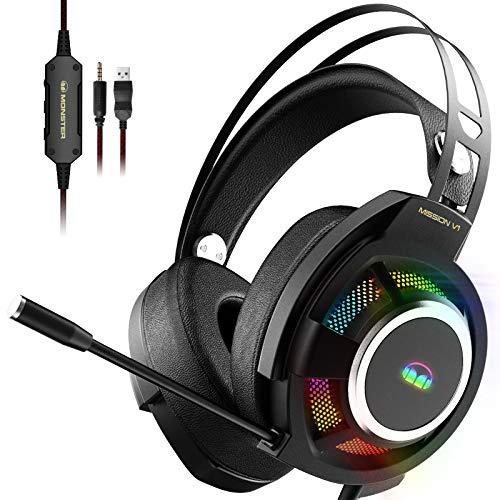 Gaming Headset Monster Mission V1, Gaming Kopfhörer mit USB Kabel und Geräuschunterdrückendem Mikrofon, Haben RGB Licht, Headset Gaming für PC, Mac, Xbox One, PS4, PS5, Switch.